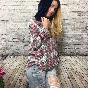 Adam Levine Plaid pullover w Velvet hood Size Med